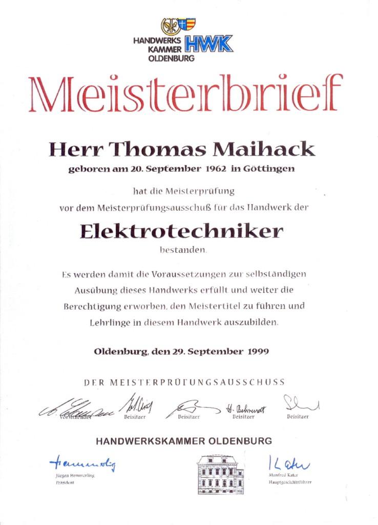 Meisterbrief Thomas Maihack